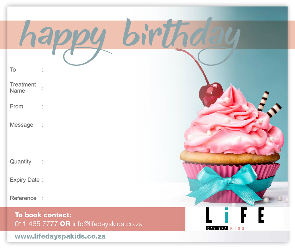 Happy Birthday Gift Voucher R500 Life Day Spa Kids